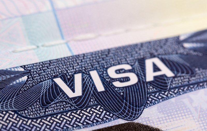 Closeup of US visa in passport