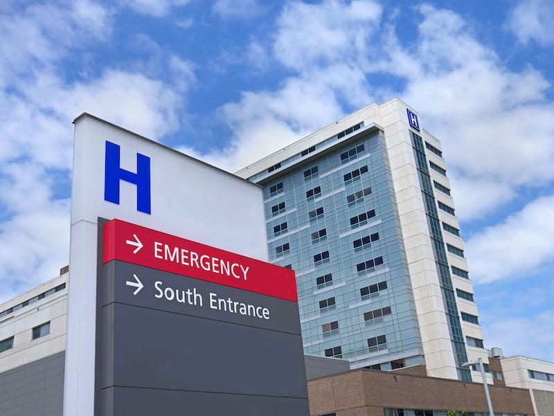 Emergency room entrance - hospital after car accident concept.