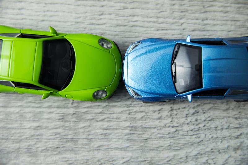 color car crash on the table