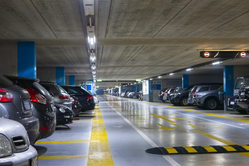 Large multi-story underground car parking garage